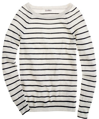 Cashmere boatneck sweater in thin stripe