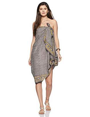 Wild Hazel Women's Cotton Grey Floral Long Sarong Beach Coverups Swimwear Pareo Swimsuit Wrap Skirt-PARE107-GREY
