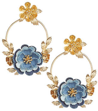 Kate Spade Flower Child Crystal Door Knocker Hoop Earrings