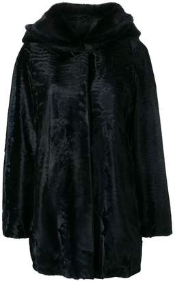 Liska loose fur trimmed coat with a hood