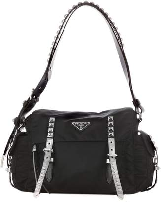 Prada Studded Messenger Shoulder Bag