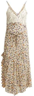 Chloé Floral Print Lace Insert Georgette Midi Dress - Womens - Brown Print