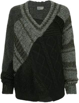 Kolor patchwork asymmetric sweater