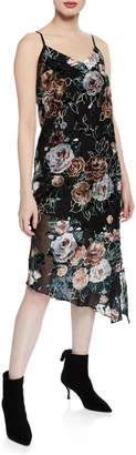 Nanette Lepore Nanette Asymmetric Velvet Floral-Print Slip Dress