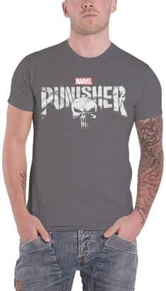 90ecbcf65 Marvel Merch The Punisher T Shirt Distressed Logo New Official Marvel Mens  Dark Grey