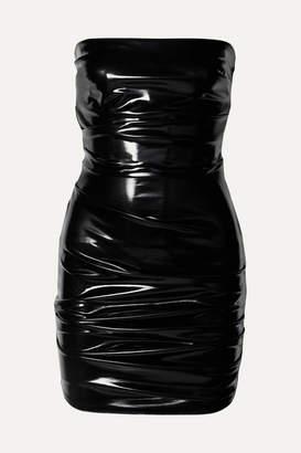 Alex Perry Carter Strapless Ruched Vinyl Mini Dress - Black