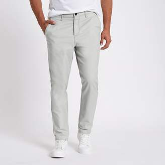 River Island Mens Grey slim fit tapered chino trousers