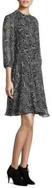 Derek Lam Zebra-Print Silk Peplum Dress