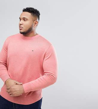 Tommy Hilfiger Big & Tall Flag Logo Knit Jumper Plaited Cotton Silk In Pink