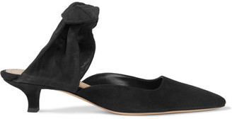 The Row - Coco Suede And Moire Pumps - Black $795 thestylecure.com