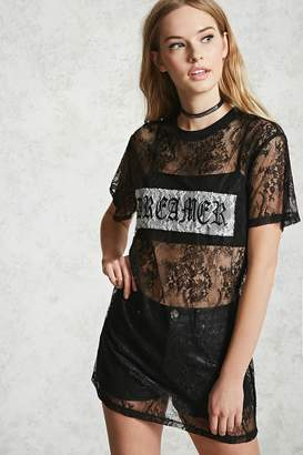 Forever 21 Lace Dreamer Graphic Tunic