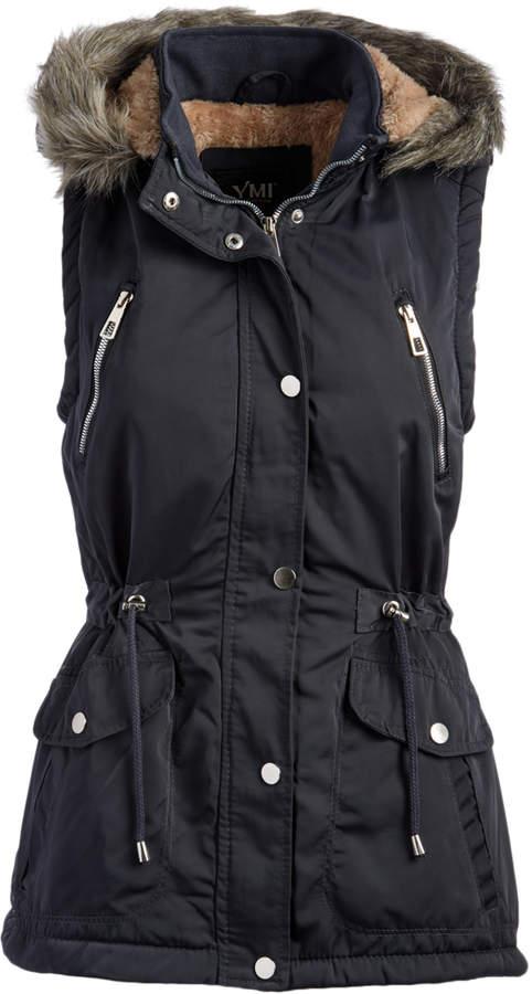 Charcoal Sherpa-Lined Faux Fur Hooded Vest - Women