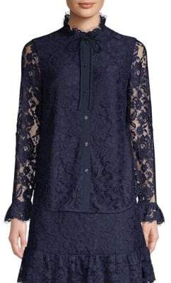 Draper James Lace High Collared Blouse