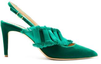 Rupert Sanderson Victoria Satin Embellished Velvet Pumps - Womens - Green