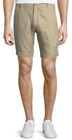 Fixed-Waist Linen Shorts Sand