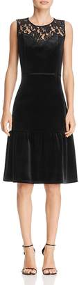 Nanette Lepore nanette Lace-Yoke Velvet Flounce Dress