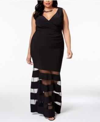 Betsy & Adam Plus Size Mesh-Stripe Gown