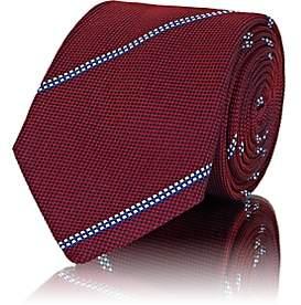 Barneys New York Men's Striped Waffle-Textured Silk Necktie - Red