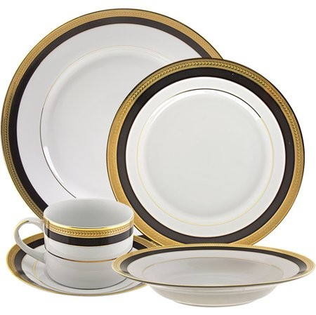 Ten Strawberry Street 10 Strawberry Street Sahara Black 20-Piece Dinnerware Set with Cup and Saucer, White with Black and Gold Border
