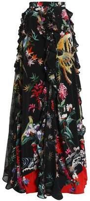 Murad Zuhair Ruffle-Trimmed Floral-Print Silk Crepe De Chine Maxi Skirt