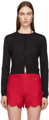 RED Valentino Black Cashmere and Silk Cropped Cardigan