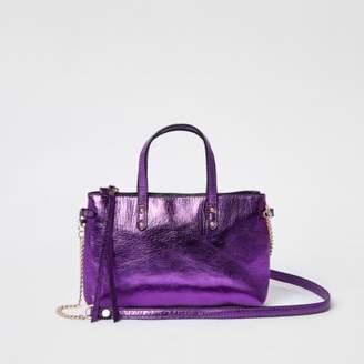 River Island Purple metallic leather cross body chain bag