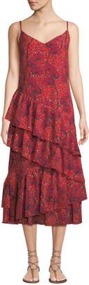 Borgo De Nor Coco V-Neck Sleeveless Leopard Orchid Print Tiered Ruffled Maxi Dress