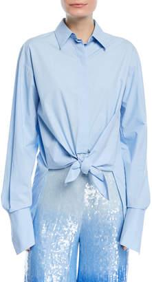 Michael Kors Tie-Waist Long-Sleeve Button-Front Shirt