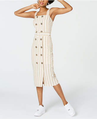 City Studios Juniors' Striped Button-Front Midi Dress