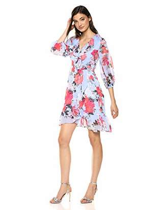 Adrianna Papell Women's Floral Faux Wrap Dress with Three Quarter Sleeves