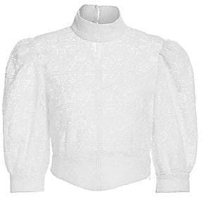 Black Iris Women's The Adele Puff-Sleeve Crochet Top