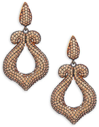 Azaara Crystal & Silver Scroll Drop Earrings
