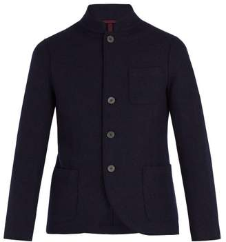 Harris Wharf London Stand Collar Virgin Wool Jacket - Mens - Blue