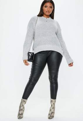 Missguided Plus Size Grey Oversized Funnel Neck Sweater