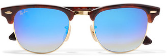 Ray-Ban - Clubmaster Square-frame Acetate And Gold-tone Mirrored Sunglasses - Blue $175 thestylecure.com