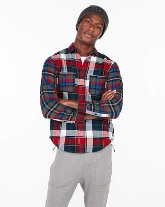 Express Slim Mixed Plaid Flannel Pocket Shirt