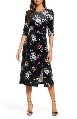Eliza J Floral Velvet Midi Dress