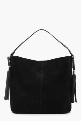 boohoo Amy Whip Stitch & Tassel Shoulder Bag