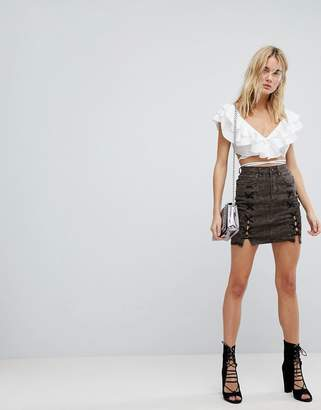 Arrive AFRM Lace Up Denim Mini Skirt