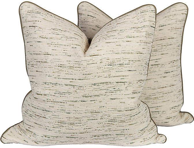 Green & Ivory Velvet Tweed Pillows