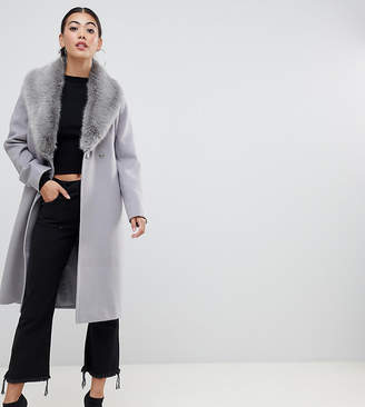 Asos DESIGN Petite faux fur collar coat with tie belt c28a6e865