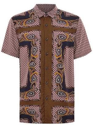Topman Mens Black Burgundy Paisley Short Sleeve Shirt