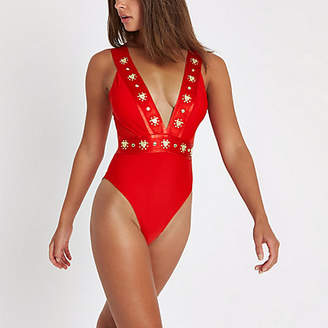 River Island Red stud plunge swimsuit