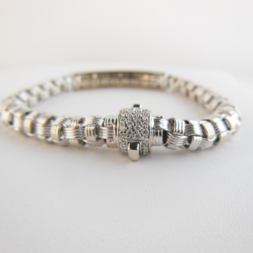 Roberto Coin excellent (EX 18K White Gold 1.75tcw Mini Appassionata Pave Diamond Bracelet with Pave Diamond Clasp