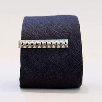 Blade + Blue Vintage Silverstone Etched Diamonds Tie Clip