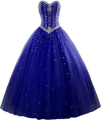M Bridal Women's Rhinestones Strapless Lace-up Puffy Ball Gown Quinceanera Dress