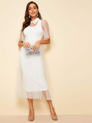 Shein Embroidered Collar Flutter Sleeve Dobby Mesh Overlay Dress