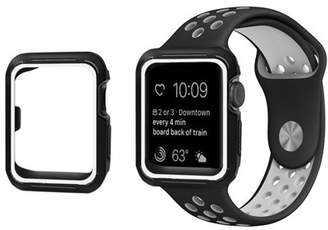 PASBUY 90C Silicone Replacement Sports Strap Band + Cover Case for Apple Watch Series 3 2 1 Black/White 42mm M/L