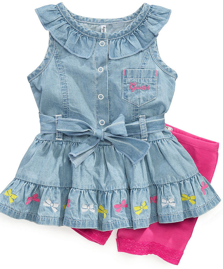 GUESS Baby Set, Baby Girls Newborn Embroidered Ruffle Top and Bike Shorts