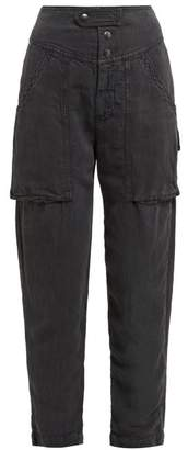 Etoile Isabel Marant Lago Patch Pocket Twill Trousers - Womens - Black